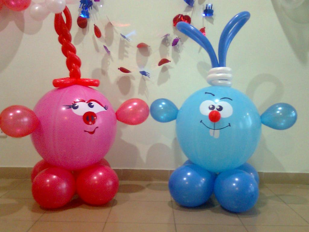 Фигурки из шаров сделать своими руками смешарики